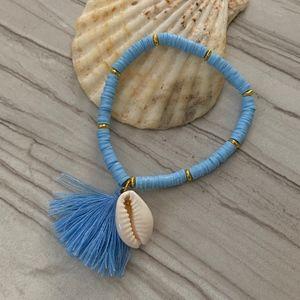 Jewelry - Blue Boho Cowrie Shell Tassel Bracelet - Mermaid